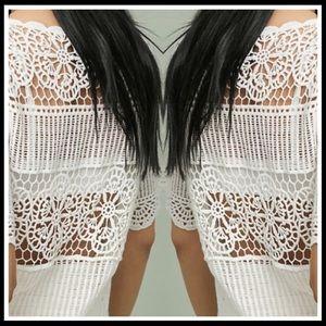 ANTHROPOLOGIE James Coviello White Crochet Top